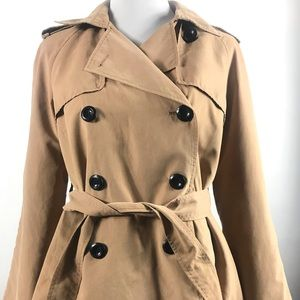 H & M Women's Double Breasted Belted Brown Jacket